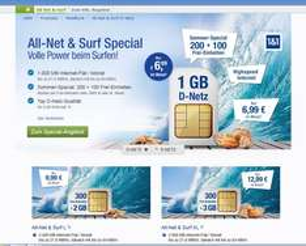 "GMX und Web.de: ""All-Net & Surf Special 300Min./SMS"" ab effektiv 6,40 Euro im Monat"