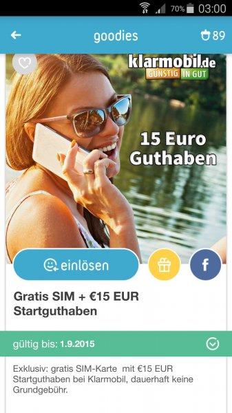 Gratis Sim Karte Klarmobil mit 15€ Startguthaben (Rubly's App)