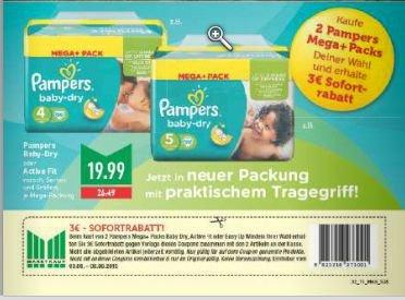 [Marktkauf] Pampers Babydry - 2 Megapacks für 36,98 (z.B. 180 Windeln Gr. 5 => 0,205€ pro Windel)