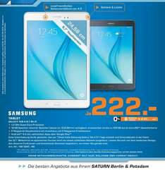 [Lokal, Saturn Berlin & Potsdam] Samsung Galaxy Tab A 9.7 für 222 €