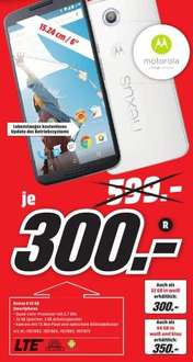 [Lokal Mediamarkt Herzogenrath] Mo­to­ro­la Nexus 6 Smart­pho­ne (15,2 cm (6 Zoll) Quad-HD-Dis­play, 2x Front­laut­spre­cher, 2,7 GHz Quad-Co­re Snap­dra­gon 805 Pro­zes­sor, 32GB in­ter­ner Spei­cher, An­dro­id 5.0 Lol­li­pop) für 300€