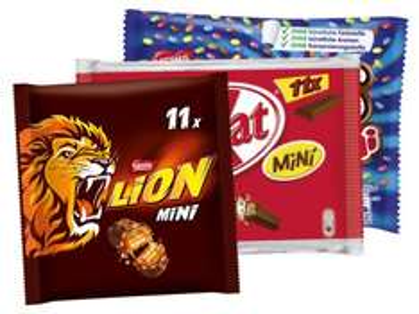 11er Pack Lion Minis, Kitkat Minis oder Smarties Minis für 1,39 € am 8. 8. 2015 bei Lidl