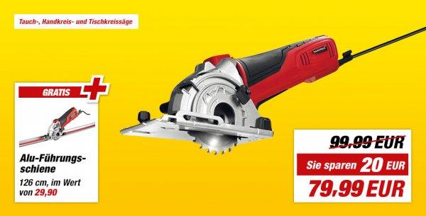 """(toom Baumarkt) Mini-Handkreissäge """"MCS 500""""  inklusiv Führungsschiene 1,26 m für 79,99€"""