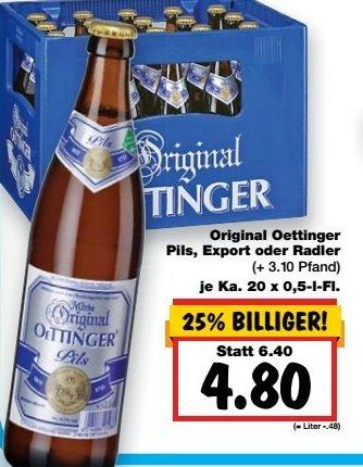 [Kaufland Köln & viele weitere] Original Oettinger Pils, Export oder Radler (20x0,5l) für 4,80€ + Pfand