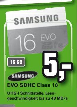 [Lokal Alphatecc..Alle 7 Filialen] Samsung SDHC EVO 16GB Class 10 UHS-I (MB-SP16D/EU) für 5,-€