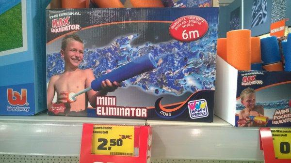 [LOKAL] Wasserspritze / Wasserpistole Mini Eliminator (2,50€) und Mini Pocket Liquidator (0,80€) @ Obi Fürth