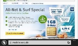 1&1 Handyvertrag für 6,99 im Monat (D-Netz)