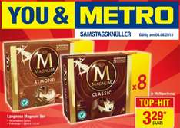 [Metro] 8er-Pack Langnese Magnum-Eis verschiedene Sorten 3,52 € nur am Sa. 08.08.2015