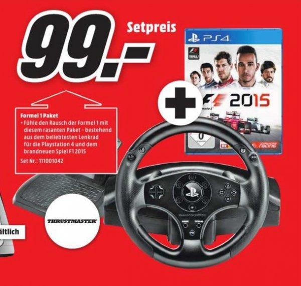 [Lokal Mediamarkt Neu-Ulm] Thrustmaster T80 Racing Wheel Lenkrad und Pedale für PS4 und PS3 + F1 2015 - [PlayStation 4] für 99,-€