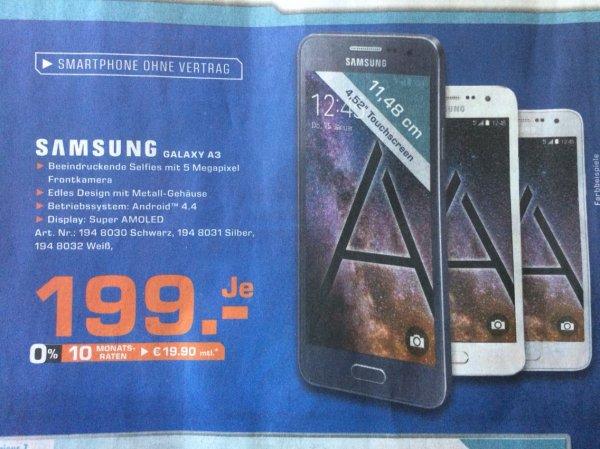[Amazon.de, Saturn online und lokal HH] Samsung Galaxy A3 LTE (4,5'' qHD AMOLED, 1,2 GHz Quadcore Snapdragon 410, 1,5 GB RAM, 16 GB intern, Unibody-Metallgehäuse, Android 5.0)