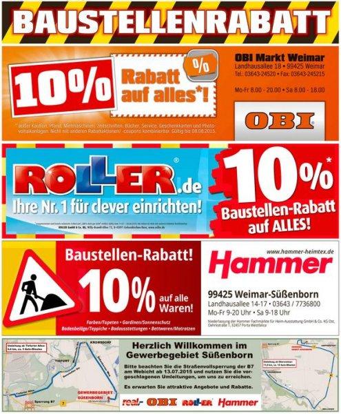 [Weimar-Süßenborn] Baustellenrabatt – 10 % Nachlass bei Obi, Roller und Hammer – bis 21.8.2015