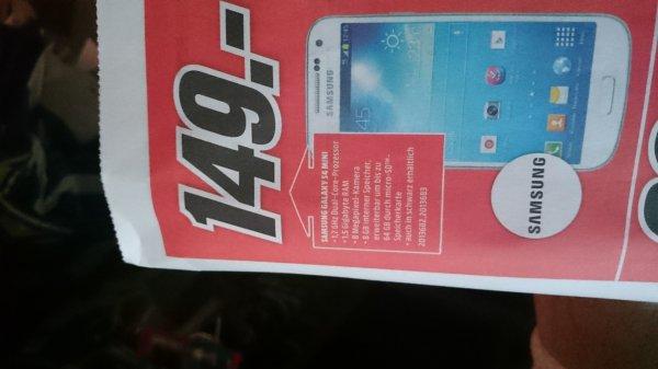 Samsung Galaxy S4 Mini Media Markt Neu-Ulm  Glacis Galerie 149 Euro