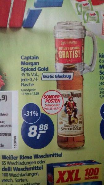 Captain Morgan 0,7L + gratis Glaskrug für 8,88€ @,-real [bundesweit]