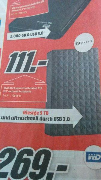 5 TB Seagate Festplatte 111 EUR Media Markt [Lokal]
