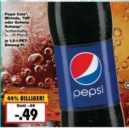 [Kaufland ab 10.08.] Pepsi,Mirinda, Schwip Schwap,  7up etc. 1,5l 0,49€ (Normalpreis 0,89€)