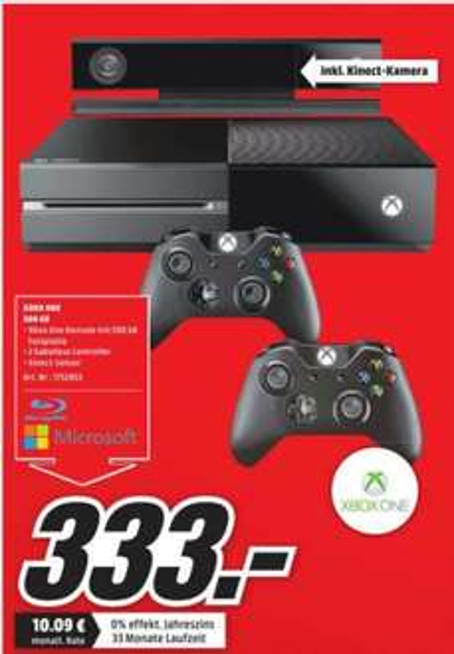 [Lokal Media Markt Oldenburg] Xbox One + 2 Controller + Kinect für 333€