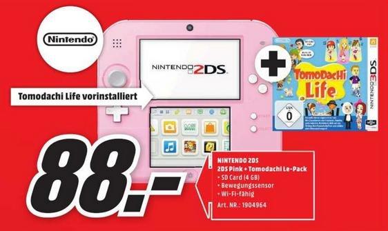 [Lokal Media Markt Oldenburg] Nintendo 2DS rosa-weiß + Tomodachi Life für 88€