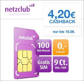 Netzclub Sim-Karte inkl. Internet Flat + 4,20€ Cashback von Qipu
