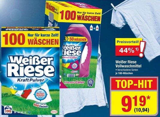 [Metro bundesweit] Ab dem 20.08.2015 Weißer Riese Pulver verschiedene Sorten für 10,94 € 100 Waschladungen