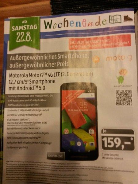Aldi Süd nur am 22.08. - Motorola Moto G 4G LTE (2. Generation) ohne SIM LOCK mit Aldi Talk Starter Set