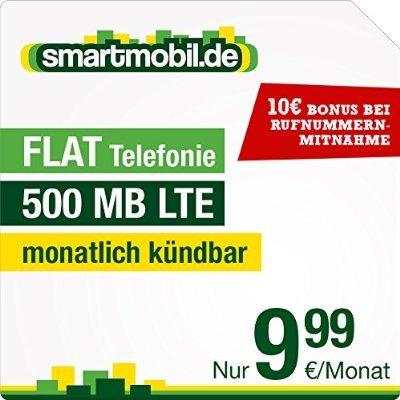 Smartmobil Allnet Flat + 500MB Internet LTE (Vorsicht, Datenautomatik), SMS 0,09Euro, mit reduzierter Anschlussgebühr (8,88 Euro) über Amazon