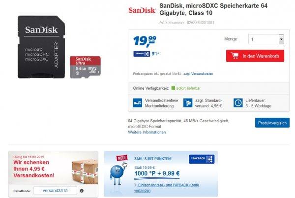 SanDisk, microSDXC Speicherkarte 64 Gigabyte, Class 10 versandkostenfrei