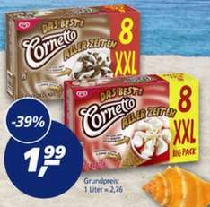 [REAL] Cornetto XXL Classic / Erdbeer / Schokolade 8 Stück 720ml für 1,99€