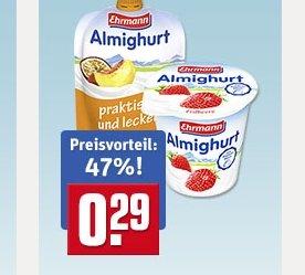 Ehrmann Almighurt 29 Cent (47% Preisvorteil) vercsh. Sorten REWE deutschlandweit