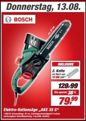 """Bosch Elektro-Kettensäge """" AKE 35 S (nur am 13 August 2015!)"""