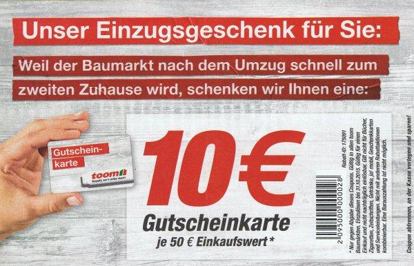 TOOM Baumarkt - für 50€ einkaufen und anschließend einen 10€ Gutschein erhalten