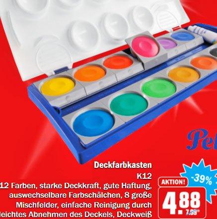 Pelikan Deckfarbkasten, Qualitäts-Tuschkasten 12Farben 4,88€ [HIT (Köln/Bonn)]