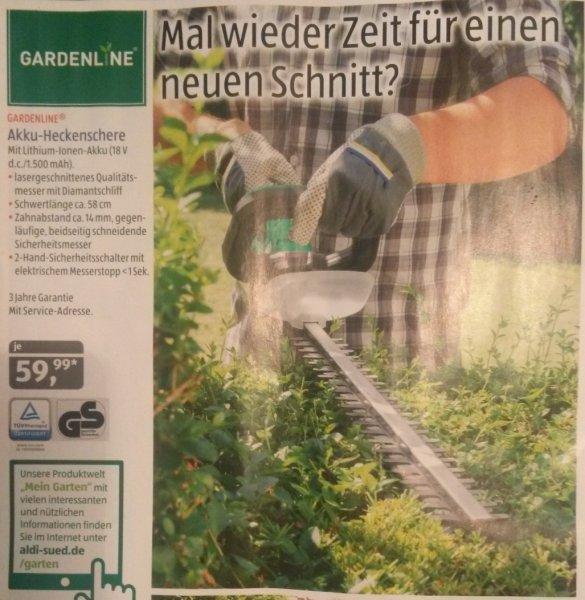 [Aldi Süd] Akku-Heckenschere 59,99€ ab 20.08. 40% Rabatt ggü. Einhell GE-CH 1855
