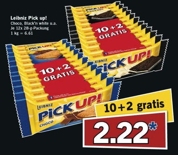 [LIDL bundesweit] KW34 Super Samstag: Leibniz Pick up! 10 + 2 gratis (u.a. Choco und Black'n White, je 12x 28 g) für 2,22 € (Angebot) [22.08.2015]