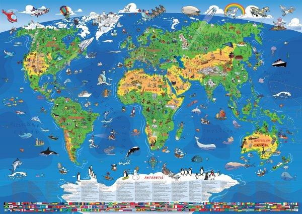 Amazon: XXL/1,35 Meter Kinderweltkarte laminiert, beschreib- & abwischbar 9,97€ / PORTOFREI zum Schulanfang