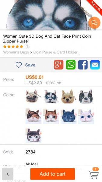Banggood APP; Hunde-Damen-Tasche; für nur 1 Cent bei Bestellung über APP; Gratis-Versand