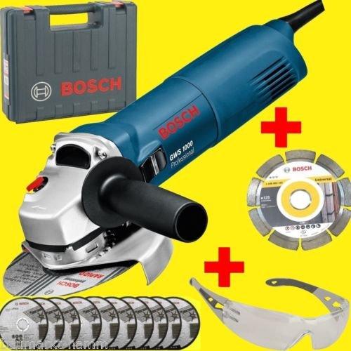 Bosch Blau GWS 1000 Winkelschleifer + Koffer + 11x Scheiben + Brille @ 89,99 bei Ebay