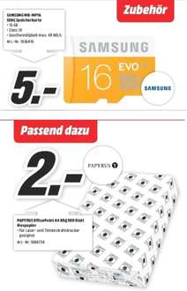 [Lokal Mediamärkte Raum Baden-Württemberg ]Samsung microSDHC EVO 16GB Class 10 UHS-I (MB-MP16D) für 5,-€***Papyrus Kopier-Papier Office Point, DIN A