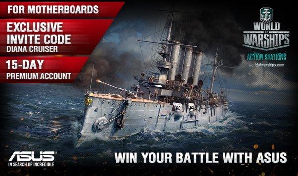 World of Warships - ein Schiff (z.B.Premium Diana Cruiser) + 15 Tage Premium Code  bei Asus Hardware Kauf