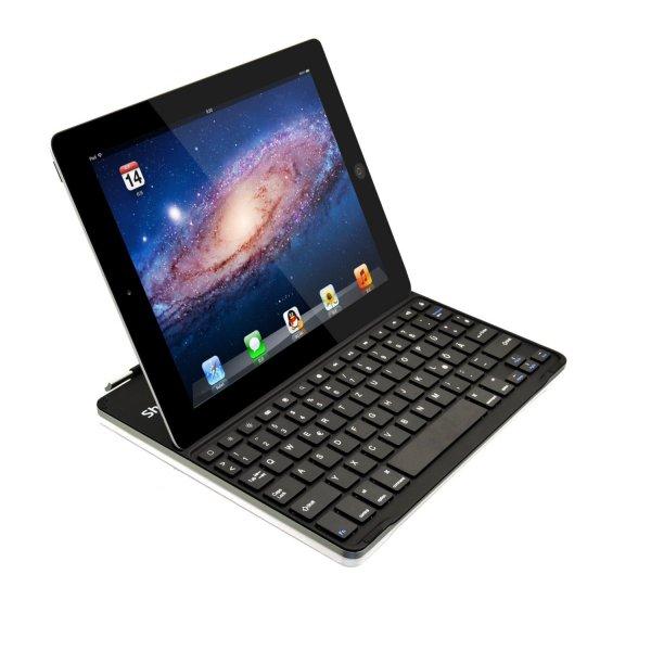 [Amazon-Prime] Sharon Apple iPad 4 Ultrathin Keyboard Cover Case mit Tastatur | Aluminium | Keyboard (Deutsch, QWERTZ) | Smart Cover Funktion |