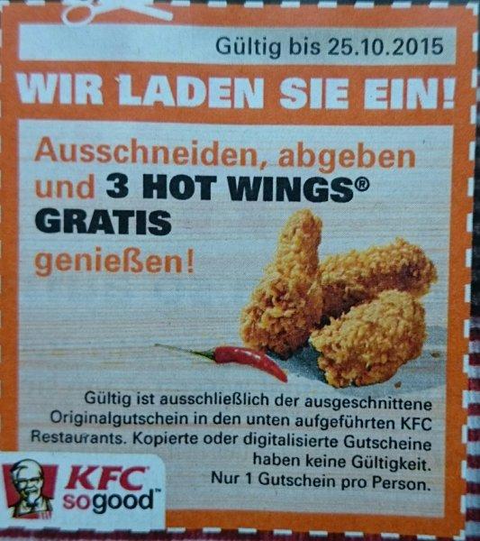 [NRW] KFC 3 Hot Wings gratis mit Coupon aus Einkauf Aktuell