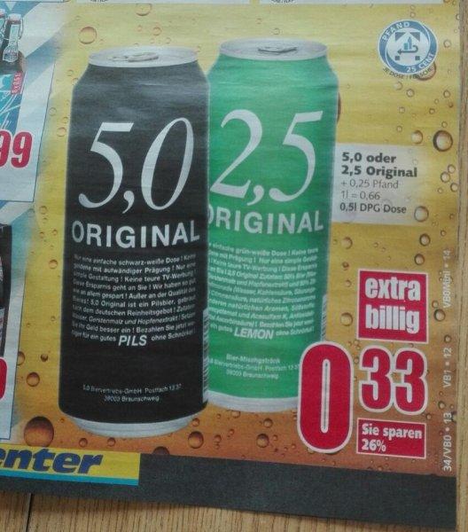 [Edeka] 5,0 und 2,5 Original Bier für 33 Cent pro 0,5L Dose
