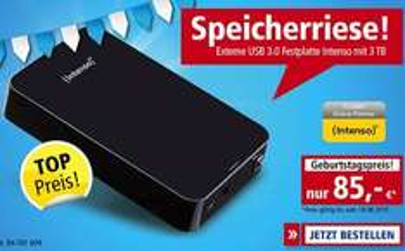 [Pollin.de] 3TB USB 3.0-HDD INTENSO Memory Center für 84,95€