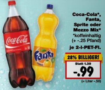 [KAUFLAND] Cola / Fanta / Sprite / Mezzo-Mix 2,0l für 0,99€