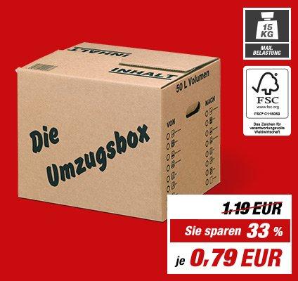 Wieder da [Toom-Baumarkt] Umzugskarton (50 l) für 79 Cent