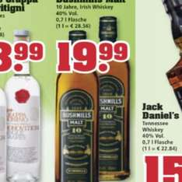 19,99€ Bushmills Malt 10 Jahre 0,7l [Trinkgut] ab 17.08.