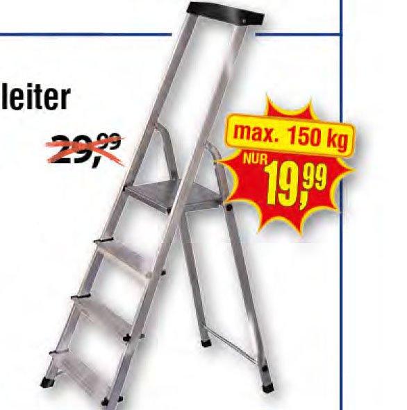 Haushaltsleiter Aluminium, 4 Stufen, maximal 150 kg, für nur 19,99€ [Centershop]