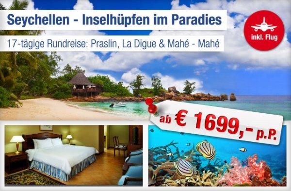 Inselhopping Seychellen: 17 Tage inkl. Frühstück, Flug, Zug zum Flug ab 1699 € p.P.