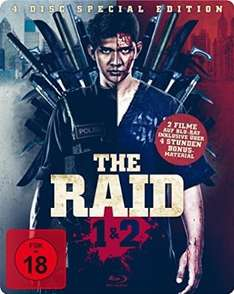 The Raid 1 & 2 Steelbook Edition (exklusiv bei Amazon.de, 2 Blu-rays + 2 Bonus DVDs) [Limited Edition] inkl. Vsk 18 Versand für 27,97 €
