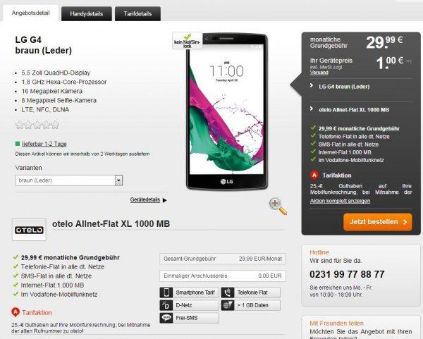 LG G4 Leder, ohne(!) Branding; 29,99EUR/mtl 1000 MB, Net &SMS-Flat