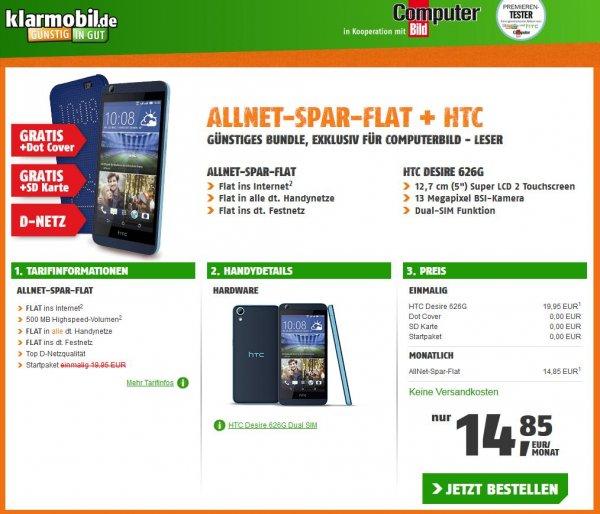 ALLNET-SPAR-FLAT + HTC DESIRE 626G NUR 14,85 EUR/MONAT